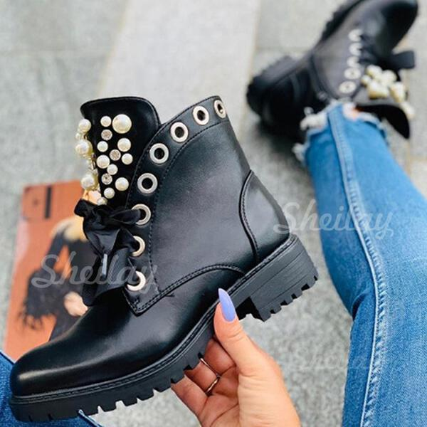 Women's PU Low Heel Martin Boots Round Toe With Rhinestone Pearl Zipper Lace-up shoes