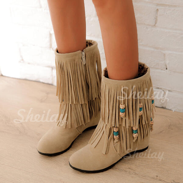 Women's Suede Flat Heel Boots Mid-Calf Boots Snow Boots With Tassel Braided Strap shoes