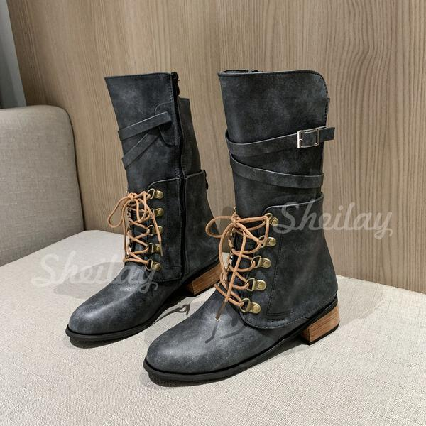 Women's PU Low Heel Chunky Heel Martin Boots Riding Boots High Top With Buckle Lace-up Solid Color shoes