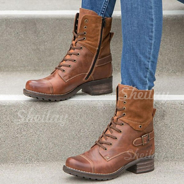 Women's Leatherette Low Heel Ankle Boots Round Toe With Lace-up shoes