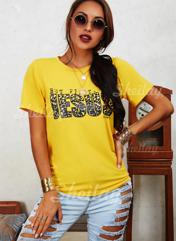 Print Leopard Letter Round Neck Short Sleeves Casual T-shirts
