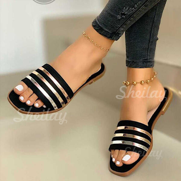 Women's PVC Flat Heel Sandals Slippers With Splice Color Striped shoes