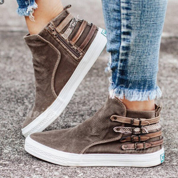 Women's Cloth Flat Heel Ankle Boots Round Toe With Buckle Zipper shoes