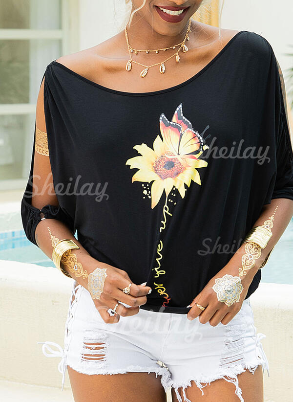 Animal Print Sunflower Print Cold Shoulder 1/2 Sleeves Casual Blouses