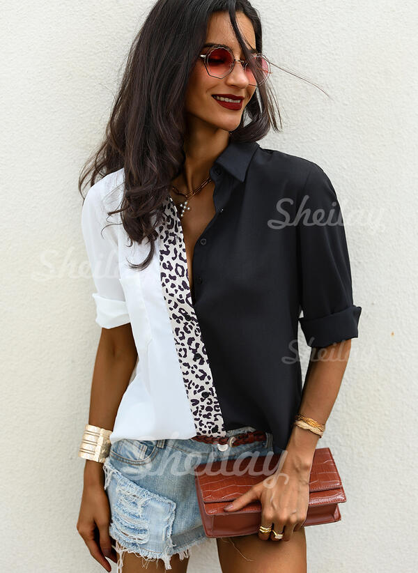 Color Block Leopard Lapel Long Sleeves Button Up Casual Shirt Blouses
