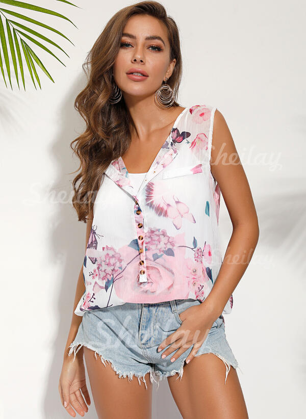 Floral Animal Print Round Neck Sleeveless Casual Tank Tops