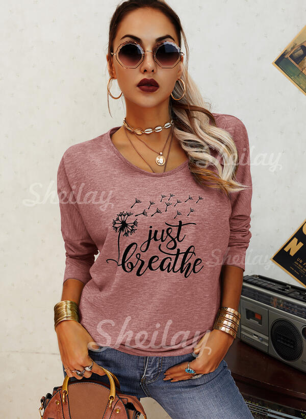 Dandelion Print Letter Round Neck Long Sleeves T-shirts