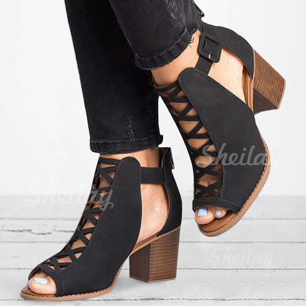 Women's Cloth Chunky Heel Ankle Boots With Buckle Hollow-out shoes