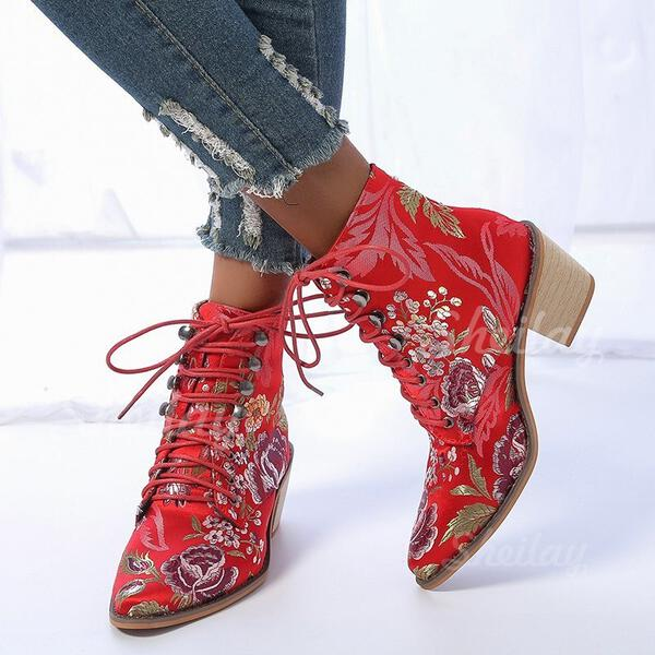Women's PU Chunky Heel Ankle Boots Pointed Toe With Lace-up Floral Print shoes