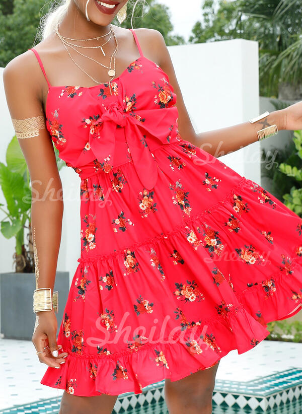 Print/Floral Sleeveless A-line Above Knee Sexy/Casual/Vacation Slip/Skater Dresses
