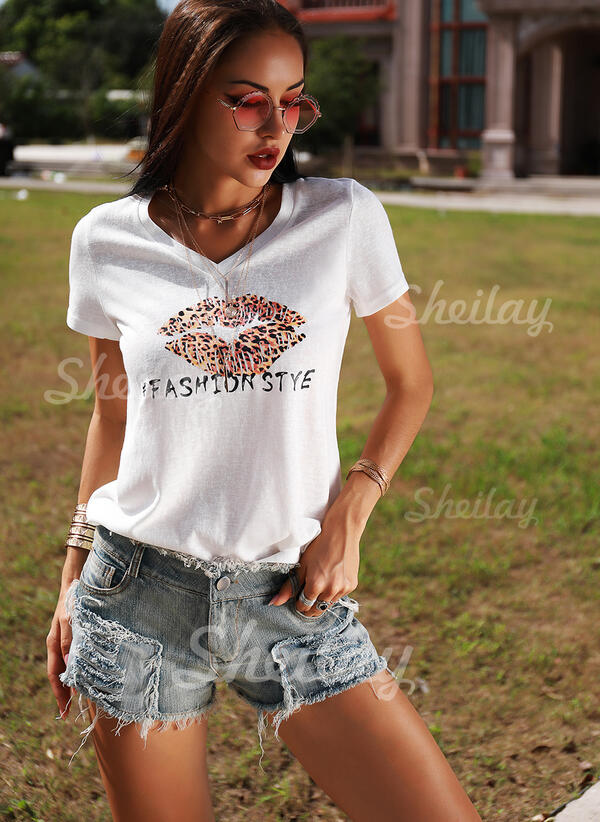 Print Leopard V-Neck Short Sleeves Casual T-shirts