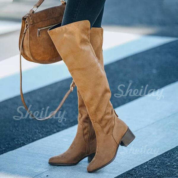 Women's Suede Chunky Heel Closed Toe Over The Knee Boots Pointed Toe With Zipper Lace-up shoes