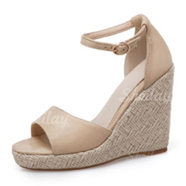 Women's Suede Wedge Heel Sandals Peep Toe With Buckle shoes
