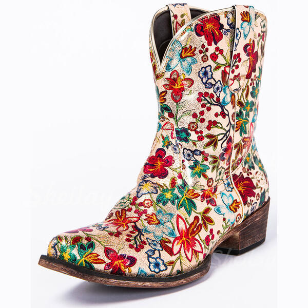 Women's PU Chunky Heel Riding Boots Round Toe With Flower shoes