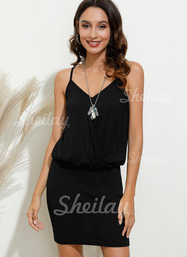 Solid Sleeveless Bodycon Above Knee Casual/Vacation Slip Dresses