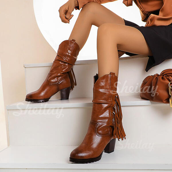 Women's PU Chunky Heel Boots With Tassel shoes