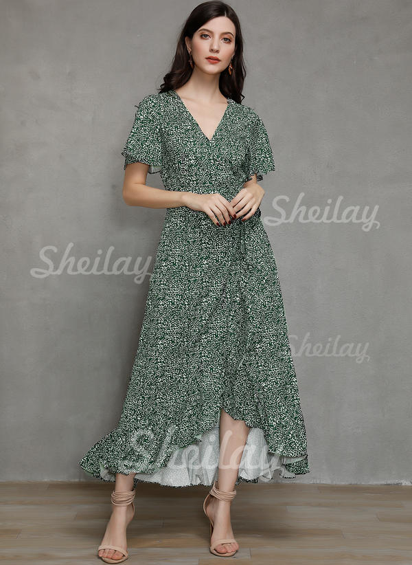 Print Short Sleeves/Split Sleeve A-line Asymmetrical Casual/Vacation Wrap Dresses
