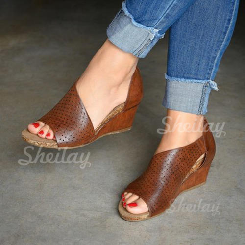 Women's PU Wedge Heel Sandals With Zipper Hollow-out Solid Color shoes