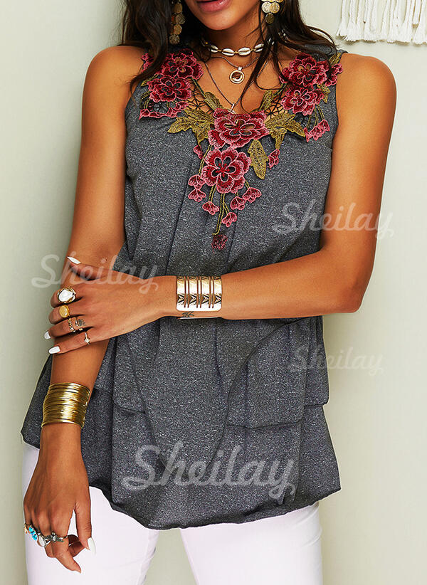 Floral Embroidery V-Neck Sleeveless Tank Tops