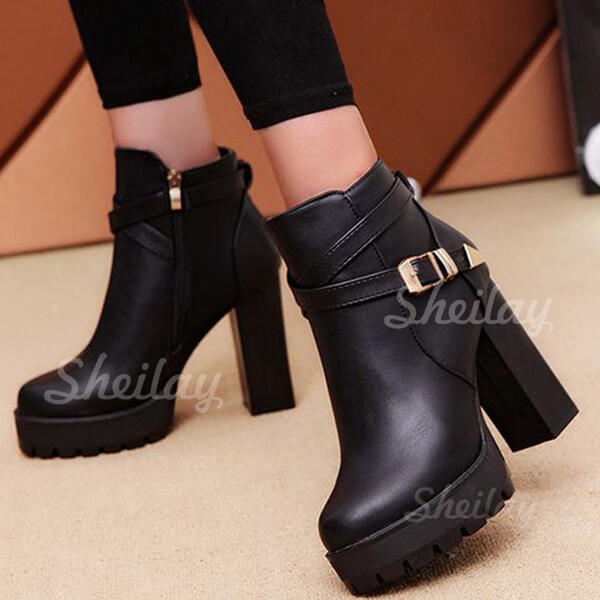 Women's PU Chunky Heel Ankle Boots Heels Round Toe With Buckle Zipper shoes