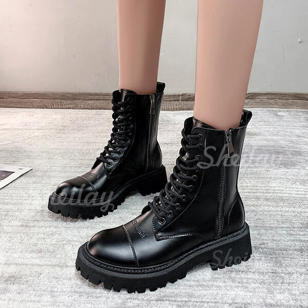 Women's PU Low Heel Flat Heel Chunky Heel Boots Ankle Boots Mid-Calf Boots Martin Boots High Top Round Toe With Zipper Solid Color shoes
