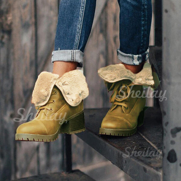 Women's Suede Chunky Heel Ankle Boots Snow Boots Martin Boots Round Toe Winter Boots With Lace-up Solid Color shoes
