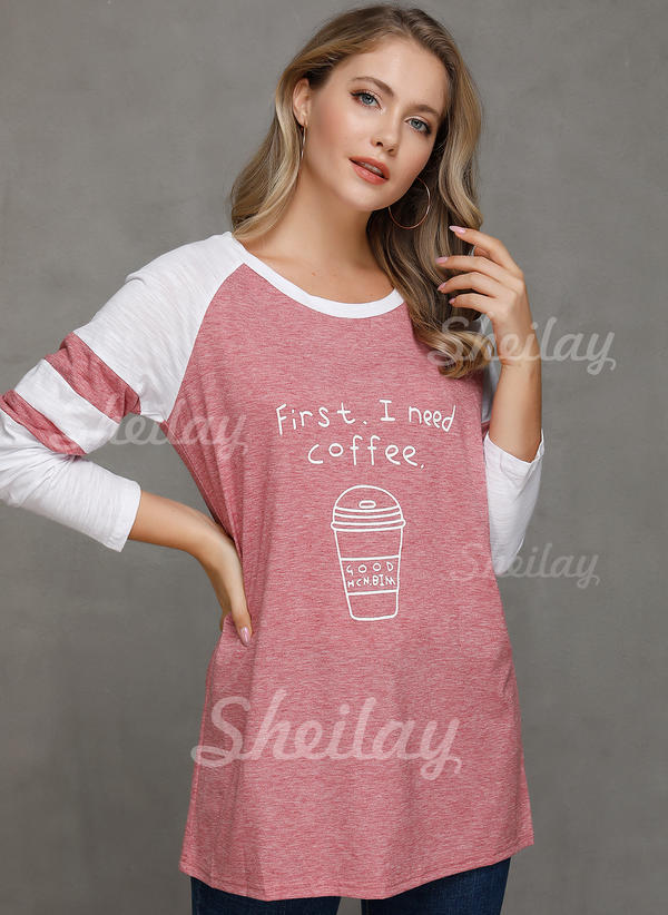 Print Color Block Round Neck Long Sleeves Casual Knit Blouses