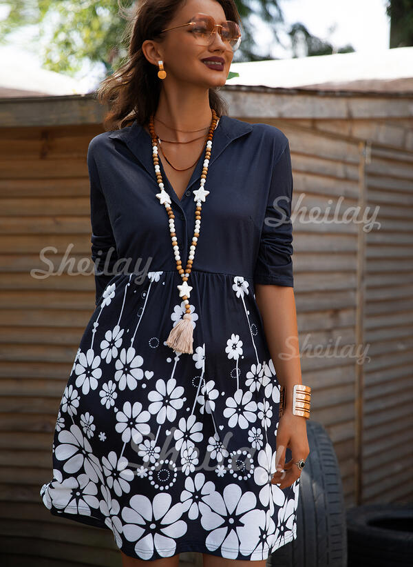 Print/Floral 3/4 Sleeves Shift Knee Length Casual/Vacation Tunic Dresses