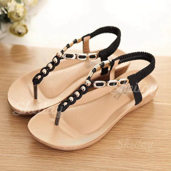 Women's Leatherette Wedge Heel Sandals Peep Toe Slingbacks With Beading Elastic Band shoes