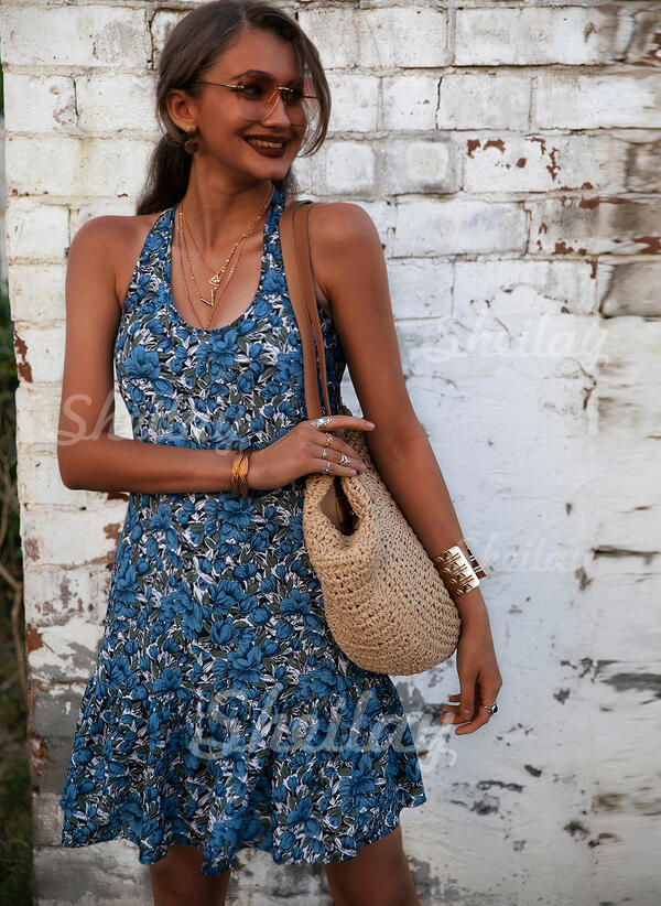 Print/Floral Sleeveless Sheath Above Knee Sexy/Casual/Vacation Tank Dresses