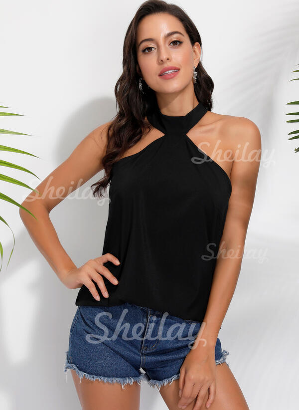 Solid High Neck Sleeveless Tank Tops