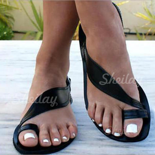 PU Flat Heel Sandals Flats Peep Toe Slippers Toe Ring With Others shoes