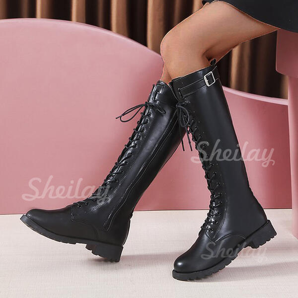 Women's PU Chunky Heel Knee High Boots Martin Boots Round Toe With Buckle Lace-up shoes