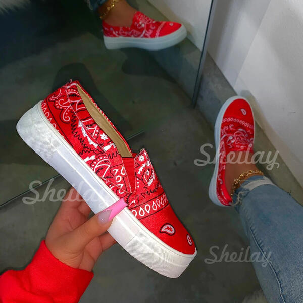 Women's PU Round Toe Slip On Sneakers With Elastic Band shoes
