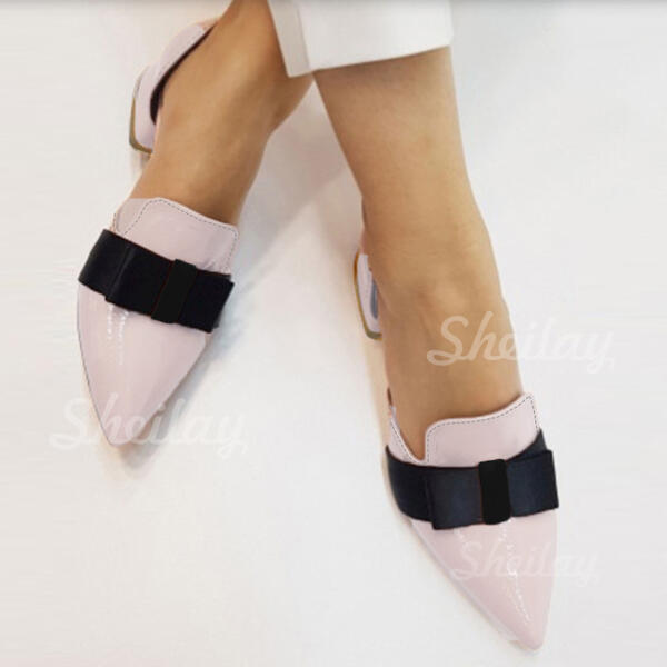 Women's PU Chunky Heel Pumps With Bowknot Colorblock shoes