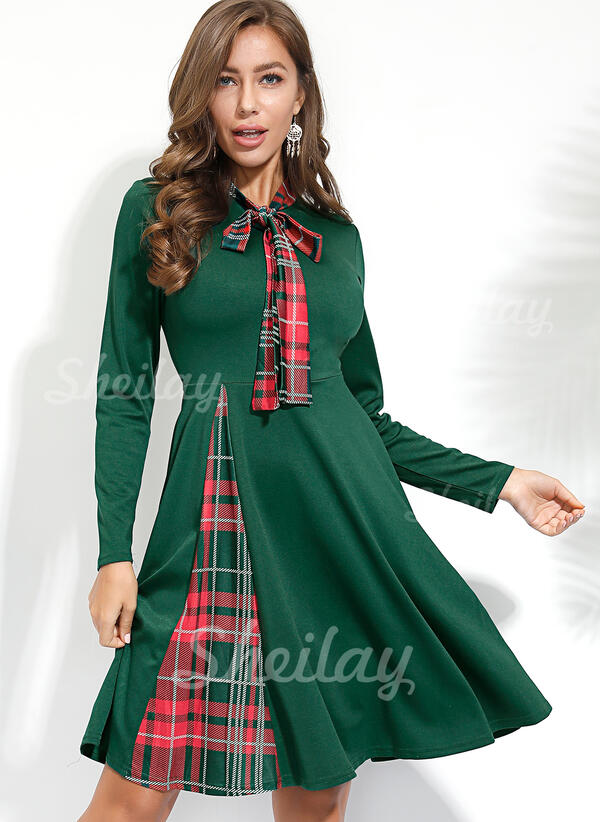 Plaid Long Sleeves A-line Knee Length Casual Skater Dresses
