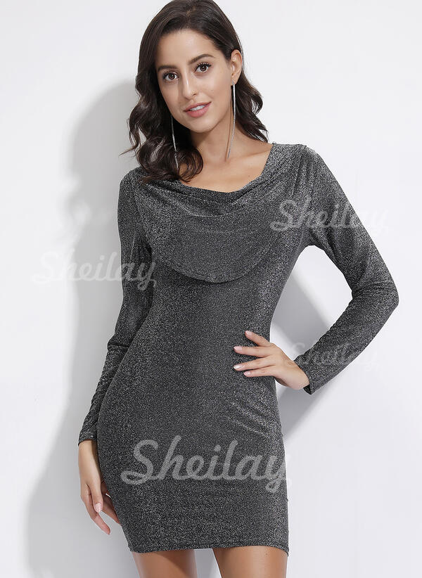 Solid Long Sleeves Bodycon Above Knee Party Dresses