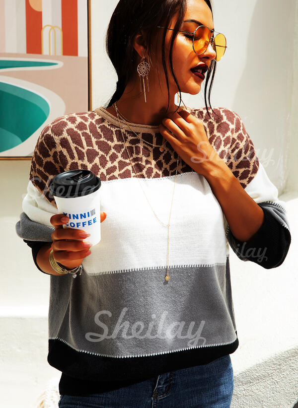 Color Block Animal Print Chunky knit Round Neck Casual Sweaters