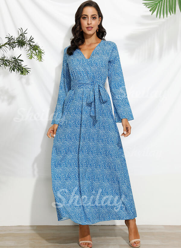 Print Long Sleeves/Flare Sleeves A-line Skater Casual/Vacation Maxi Dresses