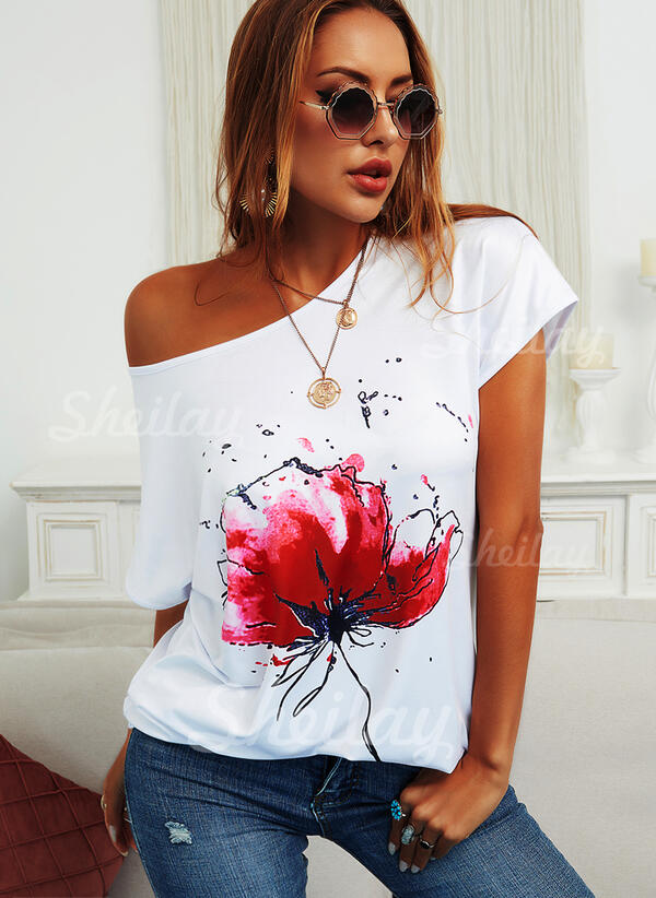Floral Print Round Neck Short Sleeves T-shirts
