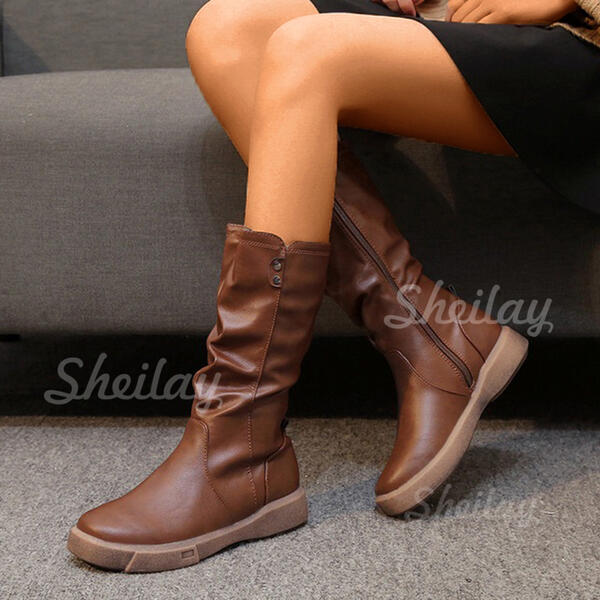 Women's PU Flat Heel Mid-Calf Boots Round Toe With Ruched Zipper Solid Color shoes