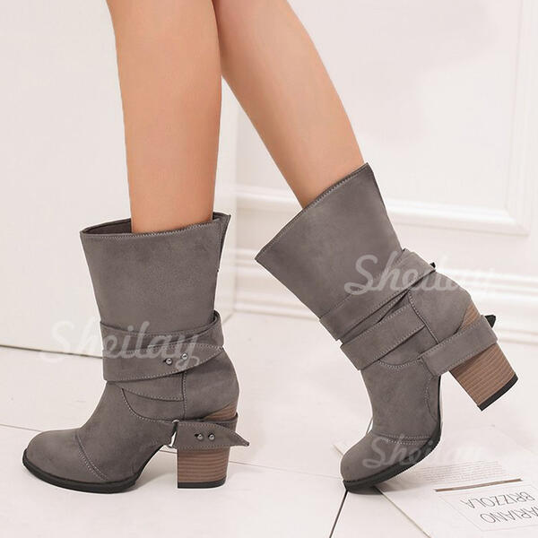 Women's Leatherette Chunky Heel Boots Round Toe With Buckle shoes