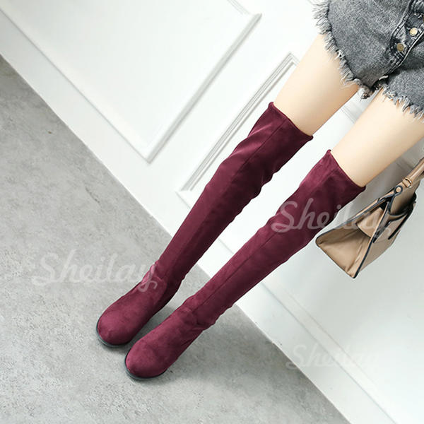 Women's Suede Chunky Heel Pumps Over The Knee Boots With Others shoes